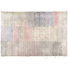 Flat Weave Cotton Area Rugs Colorful White Cotton Block Print Area Accent Dhurrie Overdyed Rug