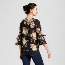 printed blouse s floral printed blouse with bow sleeve ii black olive