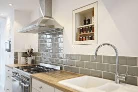 Tiled Kitchen Ideas Oak Worktop With Sage Green Metro Tiles K I T C H E N