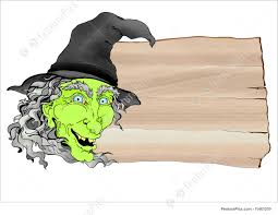 Illustration Of Creepy Green Halloween Witch Banner