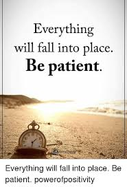 Patient Meme - everything will fall into place be patient everything will fall into