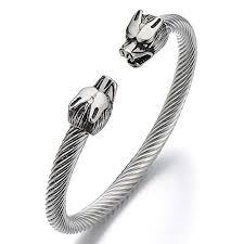 bangle bracelet mens images Coolsteelandbeyond mens wolf bracelet stainless steel jpg