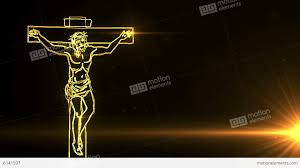 jesus on cross being with lights stock animation 6141597