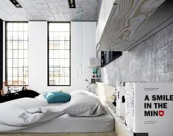 concrete ceiling bedroom concrete accent wall and ceiling also mattress bed with
