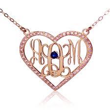 my monogram necklace gold heart birthstone monogram necklace