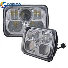 jeep wrangler square headlights black silver square pair 7x6 led headlights h4 light for jeep