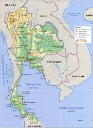 World Map Thailand by Large Elevation Map Of Thailand In Russian Thailand Asia