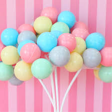 plastic balloons 3 pastel party balloon cupcake cake toppers plastic balloon
