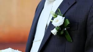 wedding flowers groom beautiful wedding flowers in groom s stock footage