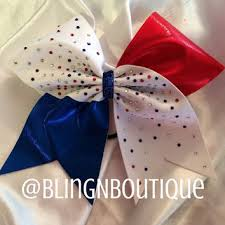 white and blue bows best and white cheer bows products on wanelo