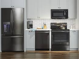 gray kitchen cabinets with black stainless steel appliances update your kitchen with black stainless steel appliances
