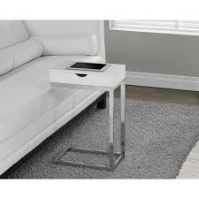 Accent Side Table Glossy White Sofa Side Table C Shape Decor Accent End Stand