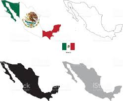 Mexico Country Map by Mexico Country Black Silhouette And With Flag On Background Stock