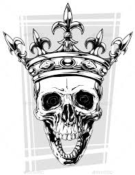 graphic black and white human skull with crown human skull font