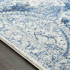 Blue And White Area Rugs Bungalow Downs Distressed Vintage Medallion Blue White Area