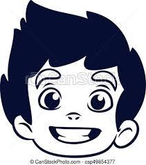 vectors illustration happy cartoon boy head outline vector