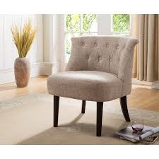 Oversized Accent Chair Light Brown Cherry Upholstered Fabric Armless Oversized