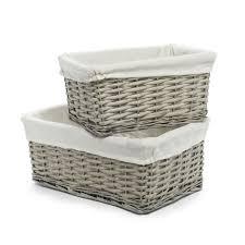 grey laundry hamper wilko willow storage basket grey set of 2 at wilko com