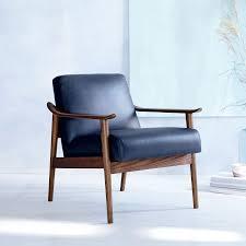 MidCentury Leather Show Wood Chair West Elm - Leather chairs living room