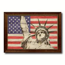 statue of liberty american flag home decor office wall art