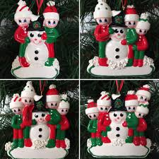 a snowman family personalised christmas tree decoration