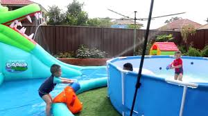 backyard water fight fun playtime giant inflatable water slide
