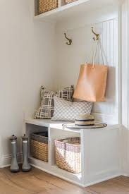 Beadboard Bench - foyer built in bench with gray dip dyed wicker baskets