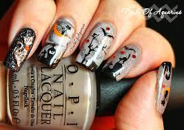 cat on the moon watermarble glow in the dark halloween nail art