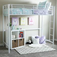 Twin Metal Loft Bed With Desk Amazon Com Walker Edison Twin Metal Loft Bed White Kitchen U0026 Dining