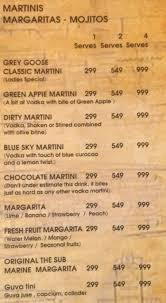 blue martini menu the submarine lounge menu punjabi bagh west delhi get prices