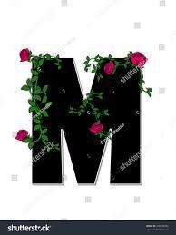 letter m alphabet set rose trellis stock illustration 409185292