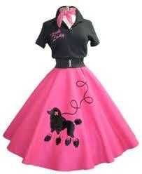 50s Halloween Costumes Poodle Skirts Vintage Classic Pink Poodle Skirt Black Shirt Black