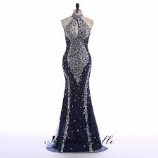 mermaid evening dresses 2016 high neck navy blue