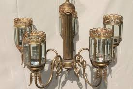 Antique Brass Chandelier Vintage Brass Chandelier Light W Prism Beveled Paneled Glass