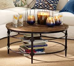 reclaimed wood round coffee table parquet reclaimed wood round coffee table pottery barn living
