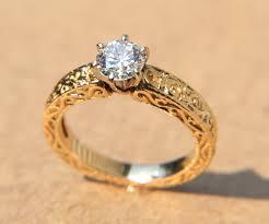 gold vintage engagement rings la fleur engraved floral leaf vintage yellow gold