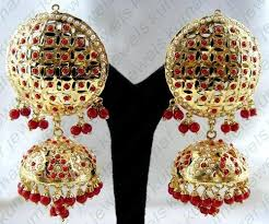 punjabi jhumka earrings traditional punjabi jadau jhumki at rs 3300 pair traditional