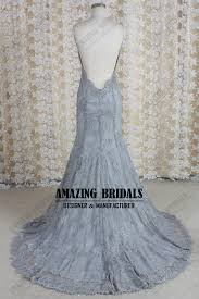 silver wedding dress silver grey backless lace wedding dress lace wedding gown