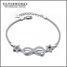 bracelet infinity silver images Wholesale 925 sterling silver infinity bracelet with zicron stars jpg