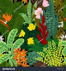 flowers and plants vector seamless vintage pattern exotic flowers stock vector