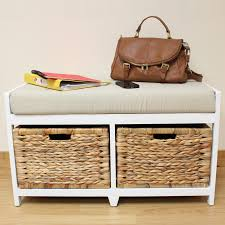 storage bench with baskets and cushion bench decoration