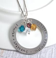 mothers necklace large circle of sterling silver personalized necklace