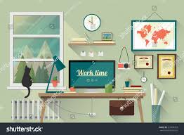 illustration modern workplace room creative office stock vector