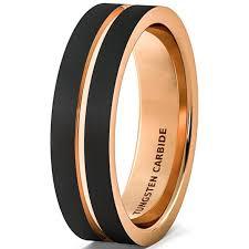 matte black mens wedding bands wedding band brushed black tungsten ring 6mm gold groove flat