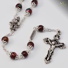 purple rosary our of fatima rosary antique silver plated purple glass