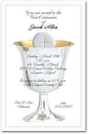 communion invitations blue border silver chalice and host boys communion invitations