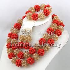 african wedding beads necklace images Luxury red champagne gold african beaded jewelry set nigerian jpg