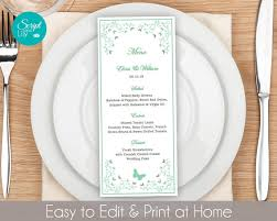 pages menu template butterfly dinner menu template free color change instant