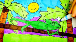 how to draw a chameleon chameleon drawing for kids youtube