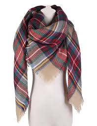 large tartan blanket scarf warm checked plaid shawl for womens at